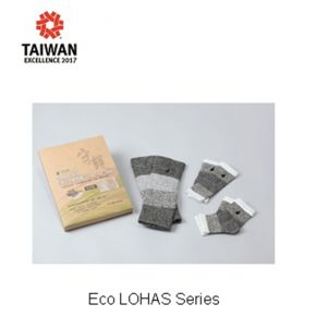 CAPTION: The Eco LOHAS Series, including a pair of elbow, knee, and ankle protection each, are made with a combination of DA.AI yarn, Lycra elastic yarn, and far infrared yarn for strong support, flexibility, and warmth. (http://www.taiwanexcellence.org/)